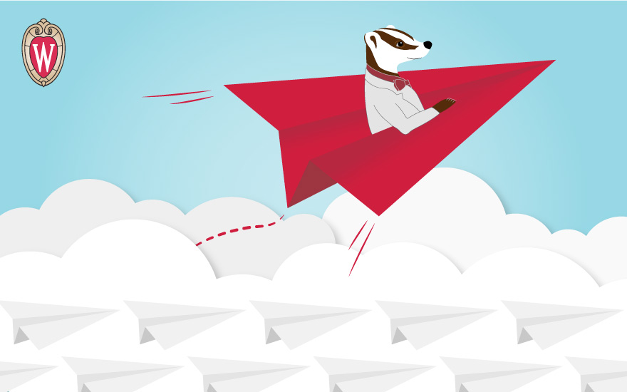 cartoon illustration of a badger riding on a red paper airplane above the clouds