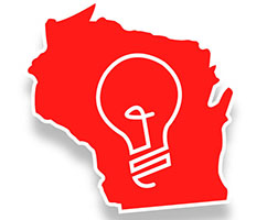 State outline of Wisconsin with lightbulb inside