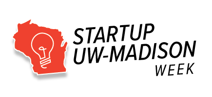 Logo that has a lightbulb in an outline of Wisconsin and says Startup UW-Madison Week