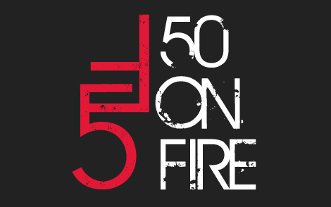 Logo that says 50 on Fire