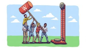 Ilustration of UW Madison students lifting a mallet to hit a carnival-style bell
